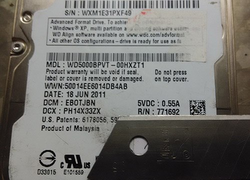 西数WD5000BPVT硬盘数据恢复